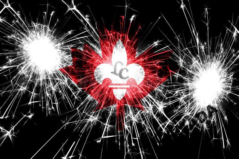 Bandera chispeante de los fuegos artificiales de poco Canadá, Minnesota Concepto del Año Nuevo, de la Navidad y del día nacional  libre illustration