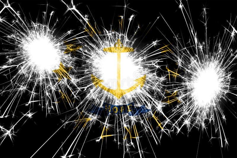 Bandera chispeante de los fuegos artificiales de Rhode Island Concepto del Año Nuevo, de la Navidad y del día nacional Los Estado ilustración del vector
