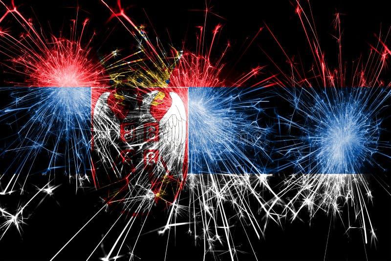 Bandera chispeante de los fuegos artificiales de Serbia Concepto del Año Nuevo, de la Navidad y del día nacional stock de ilustración