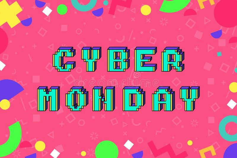 Bandera cibernética de la promoción del estilo del arte del pixel de lunes libre illustration