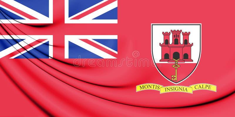 bandera civil 3D de Gibraltar stock de ilustración