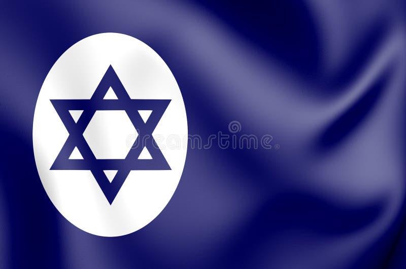 bandera civil 3D de Israel stock de ilustración