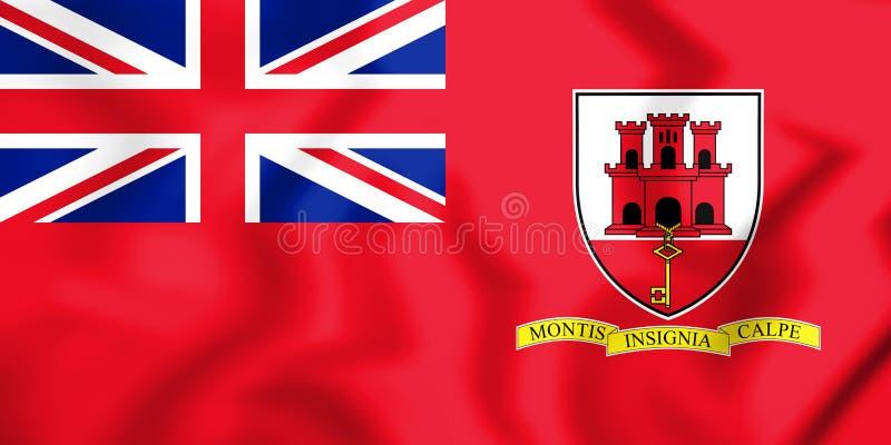 bandera civil 3D del Gibraltar stock de ilustración
