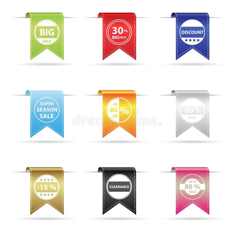 Bandera colgante curvada brillante de la cinta del diverso color para los eventos eps10 de la venta y del descuento libre illustration