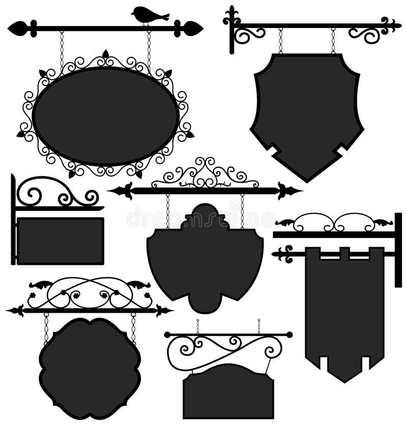 Bandera colgante de la información de la ruta de la muestra del departamento de la señalización ilustración del vector