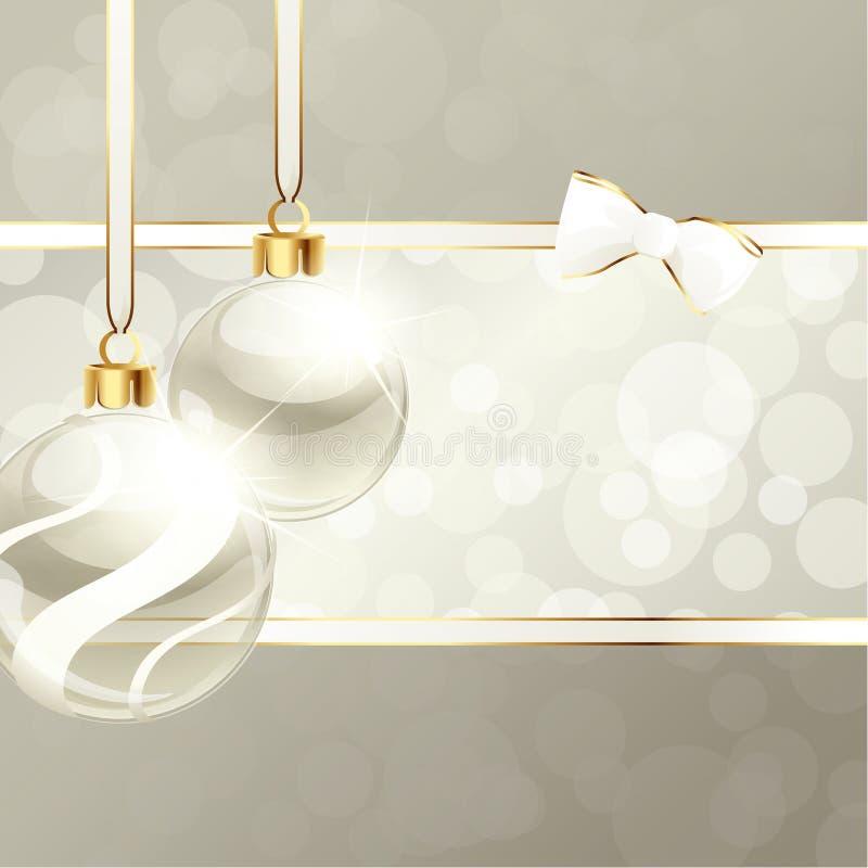 Bandera color nata con los ornamentos de la Navidad ilustración del vector
