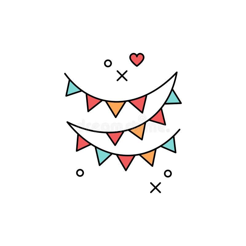 Bandera coloreada icono festivo de las guirnaldas Símbolo de un día de fiesta, partido, festival, carnaval, cumpleaños Línea dise stock de ilustración