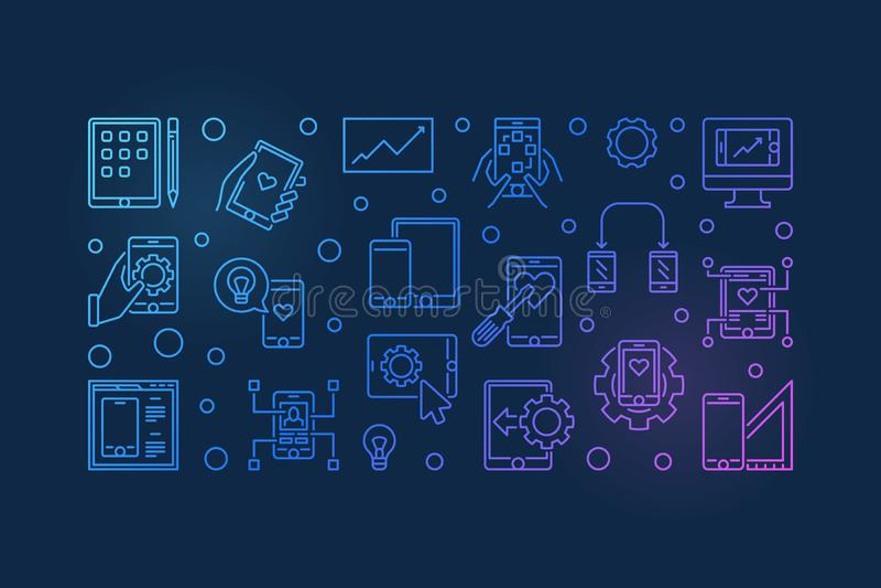 Bandera coloreada vector móvil del esquema del desarrollo del app libre illustration