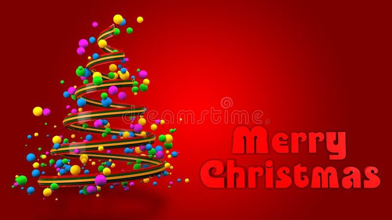 Bandera colorida abstracta del árbol de navidad 3D stock de ilustración