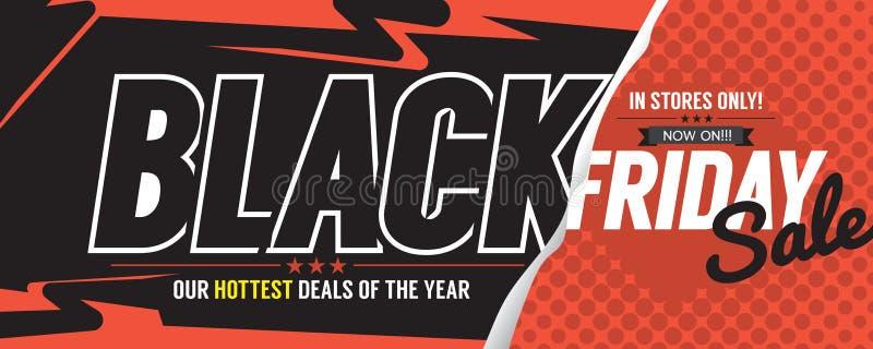 Bandera colorida de la promoción del márketing de la venta de Black Friday stock de ilustración