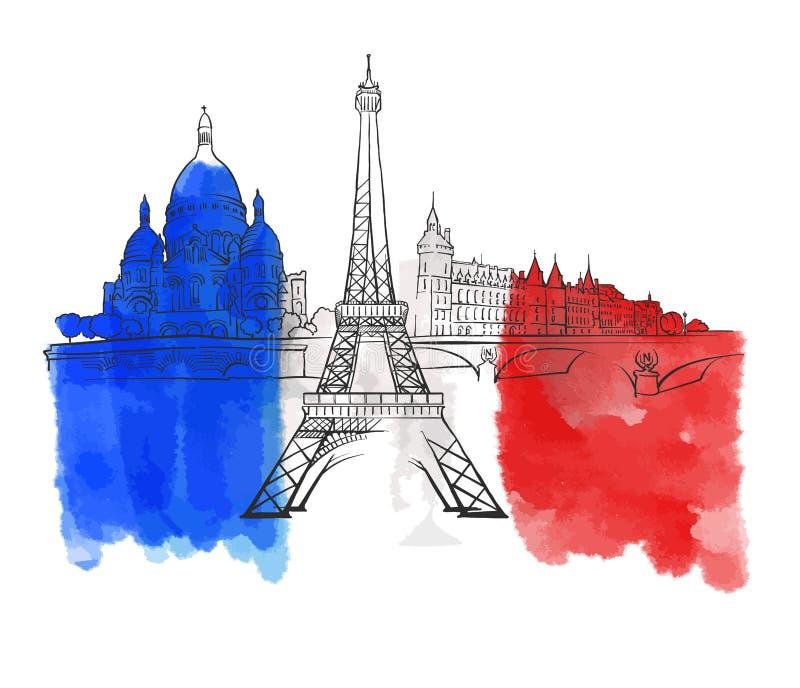 Bandera colorida de la señal de París Francia libre illustration