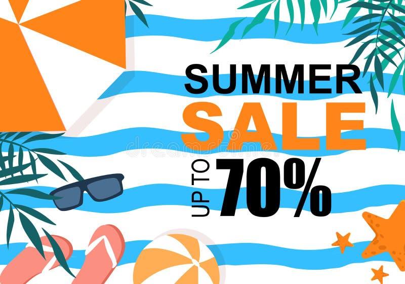 Bandera colorida de la venta del verano con las hojas de la palmera, ilustración del vector