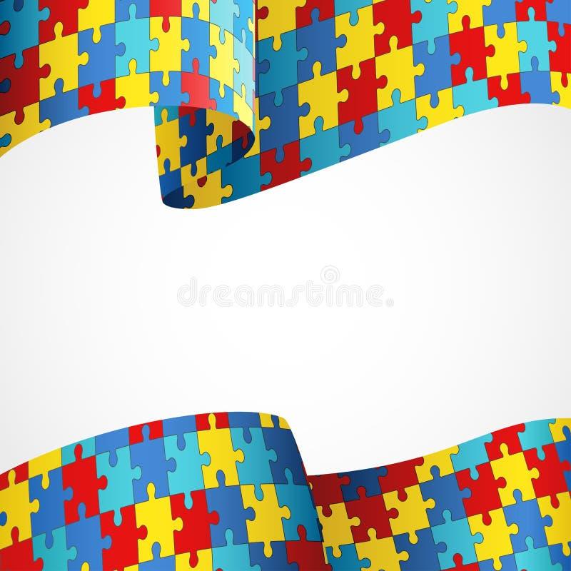 Bandera colorida del rompecabezas de la conciencia del autismo libre illustration