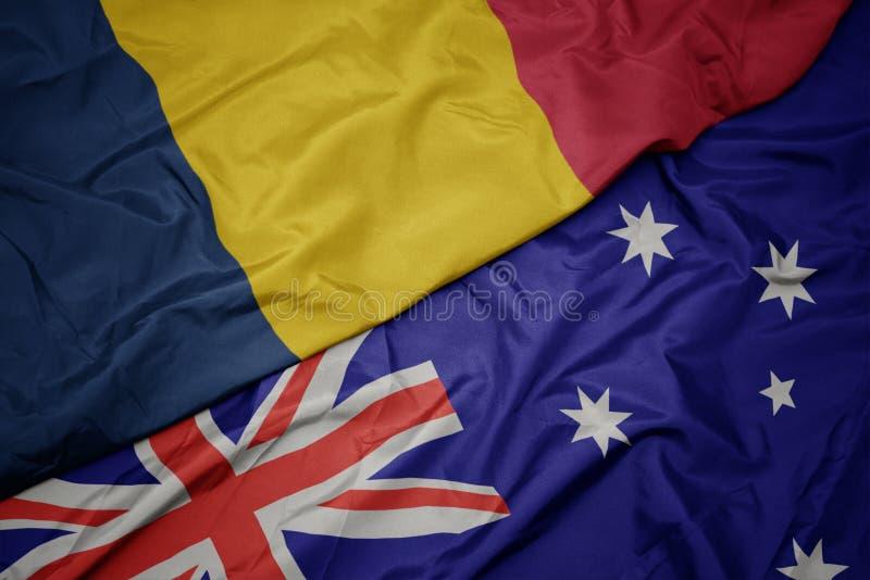 bandera colorida que agita de Australia y bandera nacional del sábalo fotografía de archivo