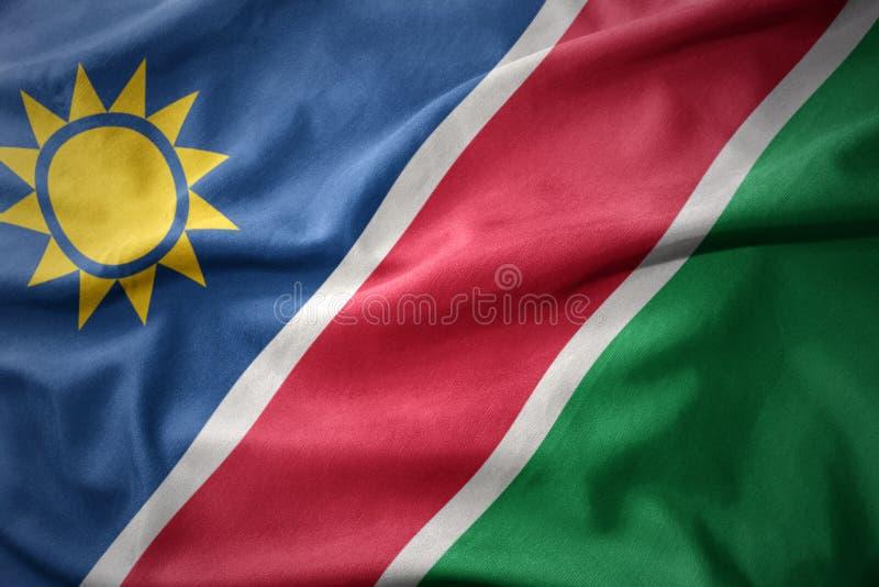 Bandera colorida que agita de Namibia imagen de archivo libre de regalías