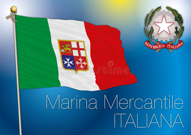 Bandera comercial de la marina de guerra, Italia ilustración del vector