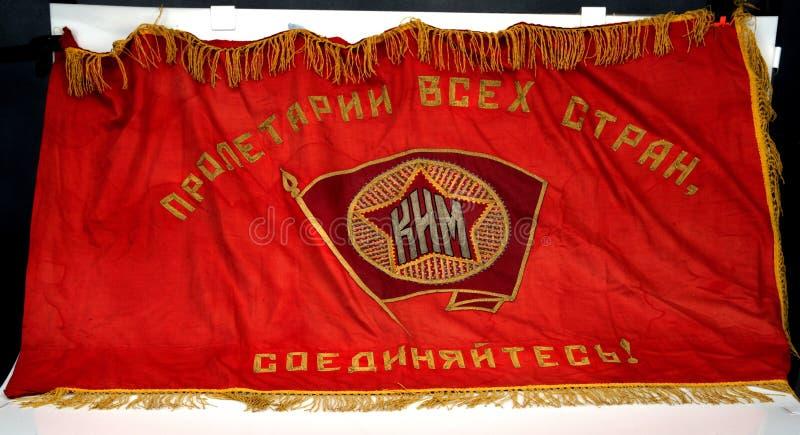 Bandera comunista soviética bordada a mano Guerra civil española foto de archivo libre de regalías