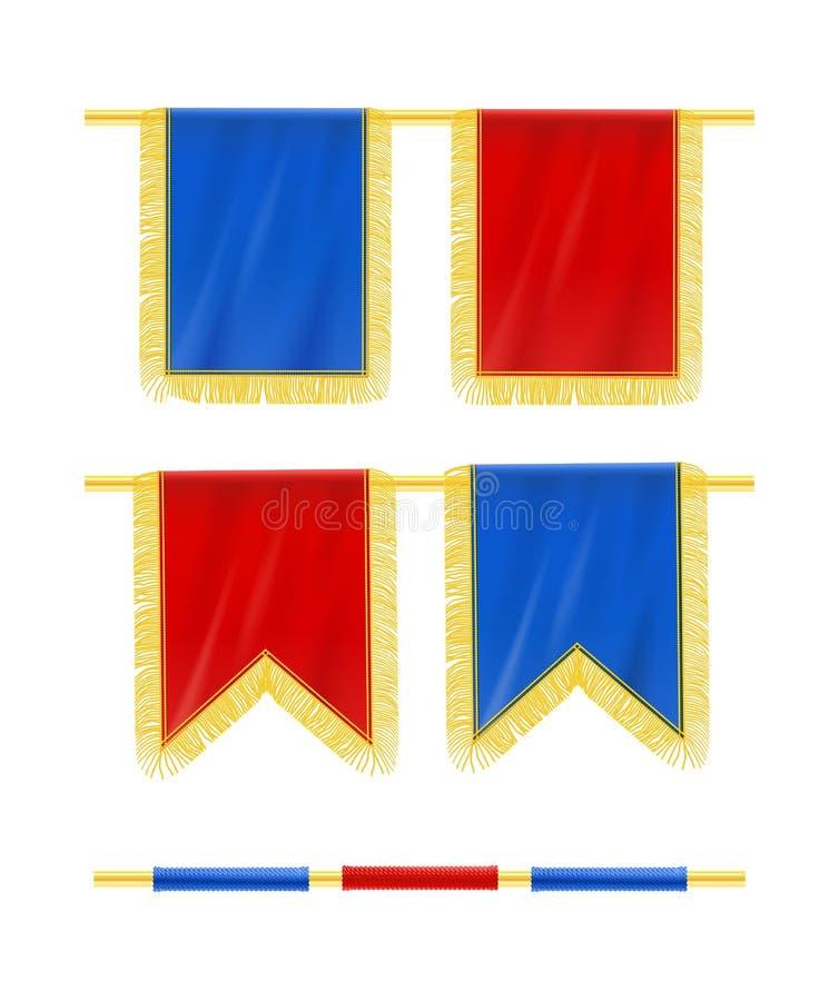 Bandera con caída de la franja en la barra stock de ilustración