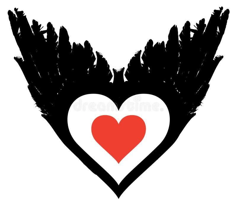 Bandera con el corazón abstracto del vuelo con las alas negras libre illustration