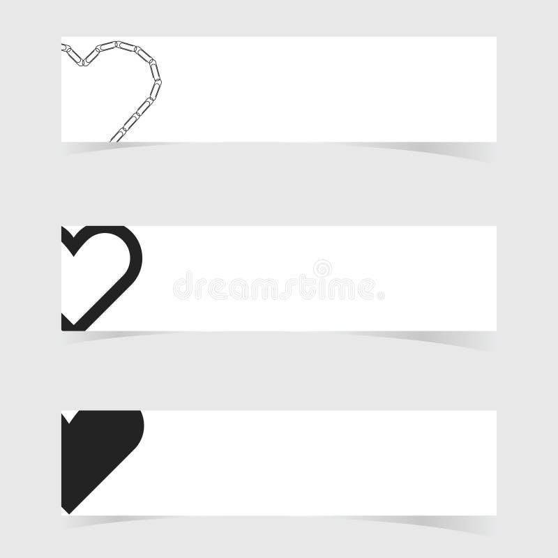 Bandera con el ejemplo determinado del diseño del icono del amor del corazón stock de ilustración