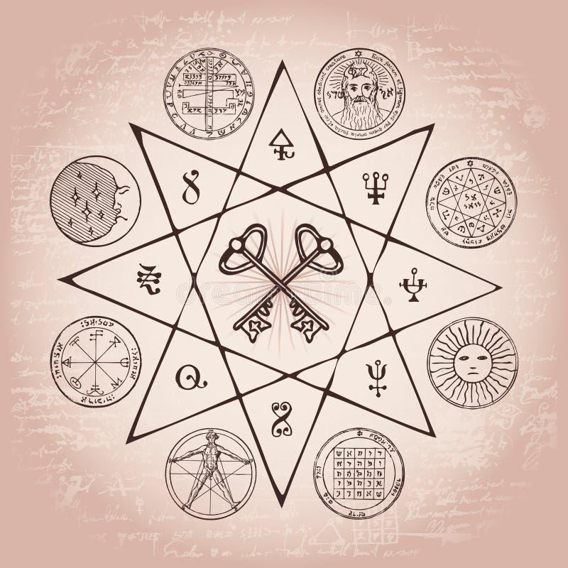 Bandera con el Grail y símbolos esotéricos y masónicos libre illustration