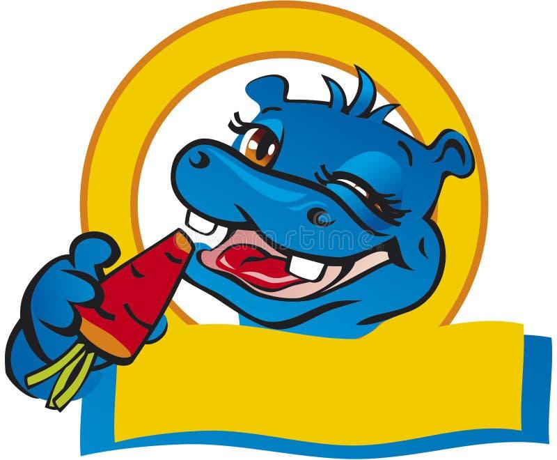 Bandera con el hipopótamo fotografía de archivo