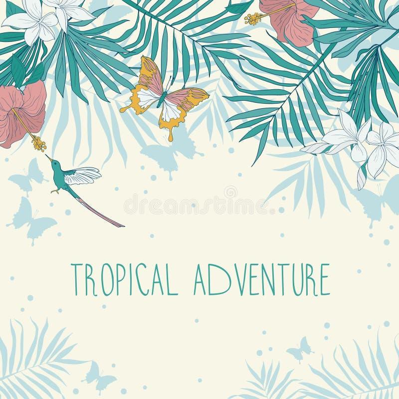 Bandera con el lugar para el texto y flores, hojas de palma y mariposas tropicales stock de ilustración