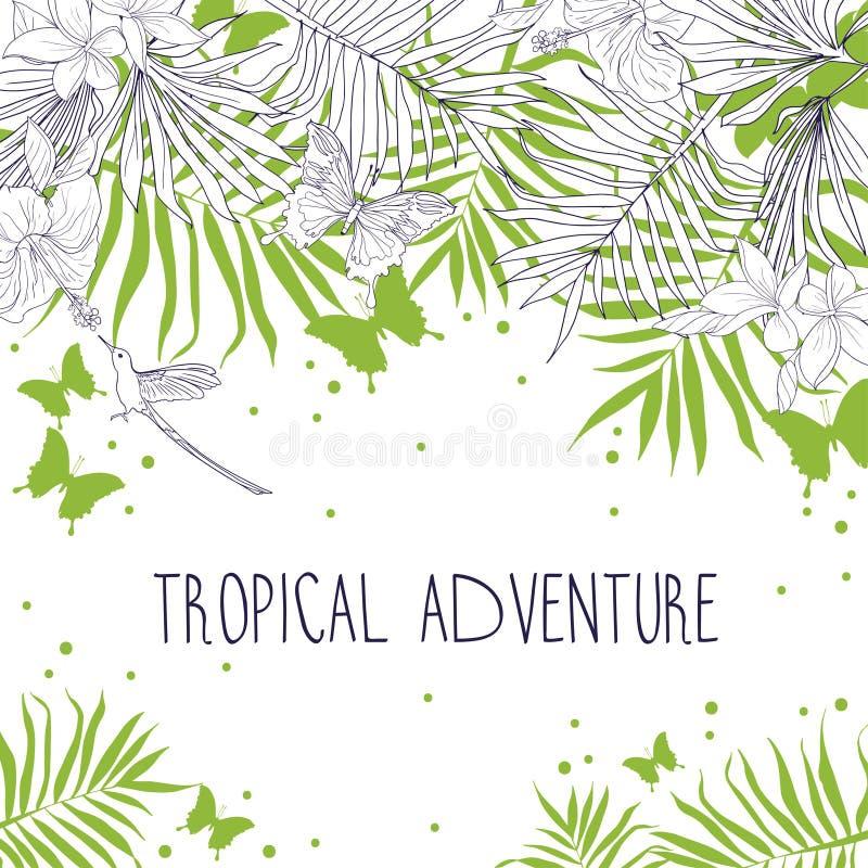 Bandera con el lugar para el texto y flores, hojas de palma y mariposas tropicales libre illustration