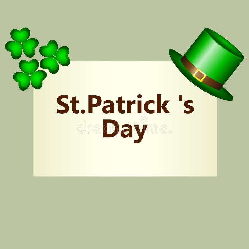 Bandera con el símbolo del klpak del trébol y del sombrero del día de St Patrick s ilustración del vector