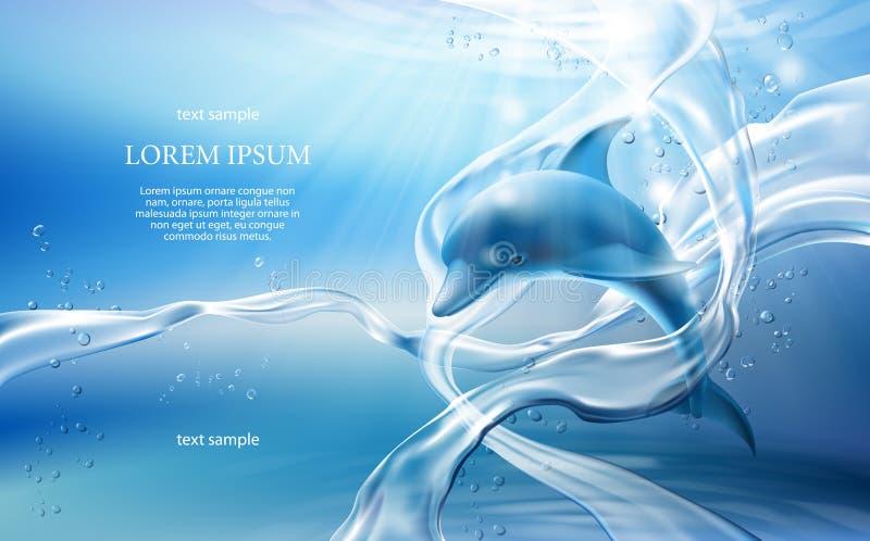 bandera con flujos, las burbujas del agua cristalina y el delfín en fondo azul claro libre illustration
