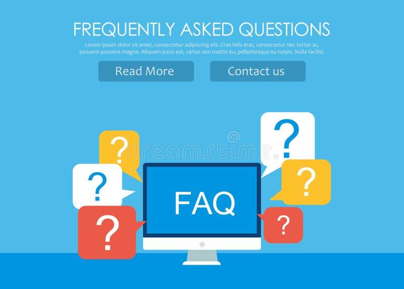 Bandera con frecuencia pedida del FAQ de las preguntas Ordenador con los iconos de la pregunta libre illustration