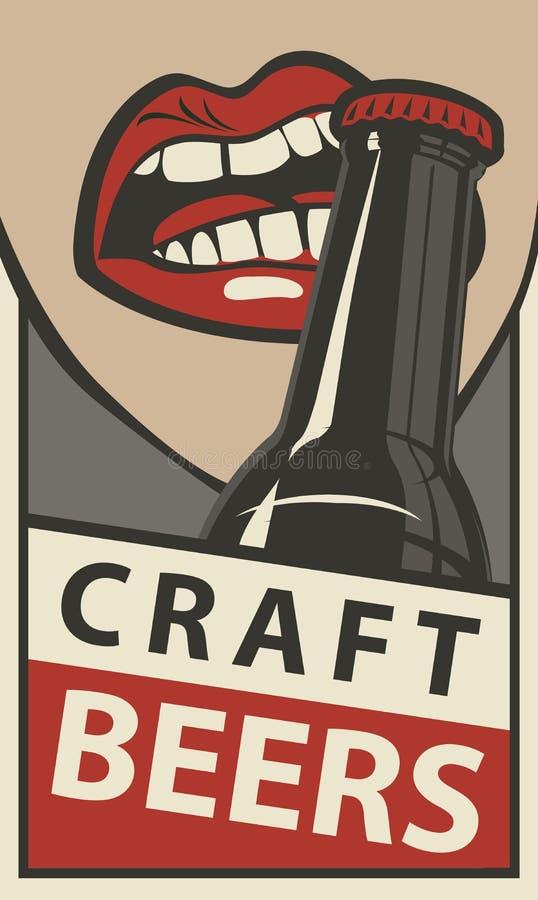 Bandera con la boca que abre una botella de cerveza stock de ilustración