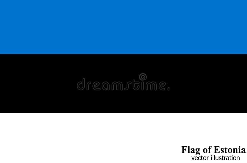 Bandera con la bandera de Estonia Vector stock de ilustración