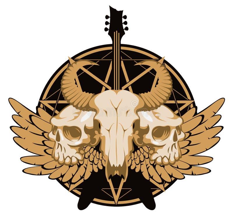 Bandera con la guitarra, los cráneos, las alas y pentagram ilustración del vector