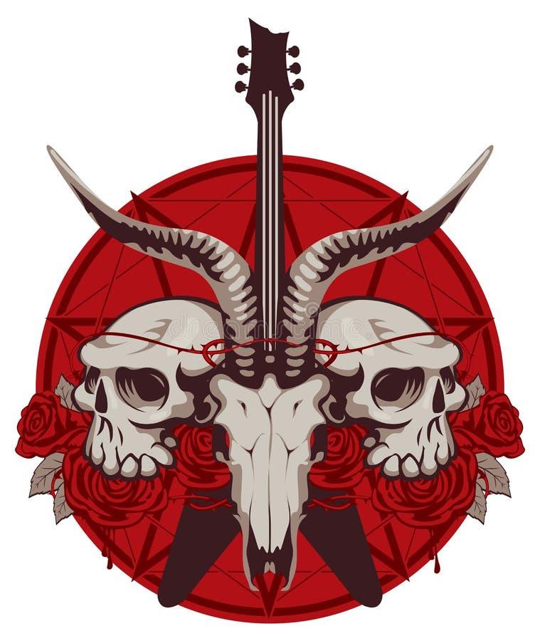 Bandera con la guitarra, los cráneos, las rosas y pentagram libre illustration