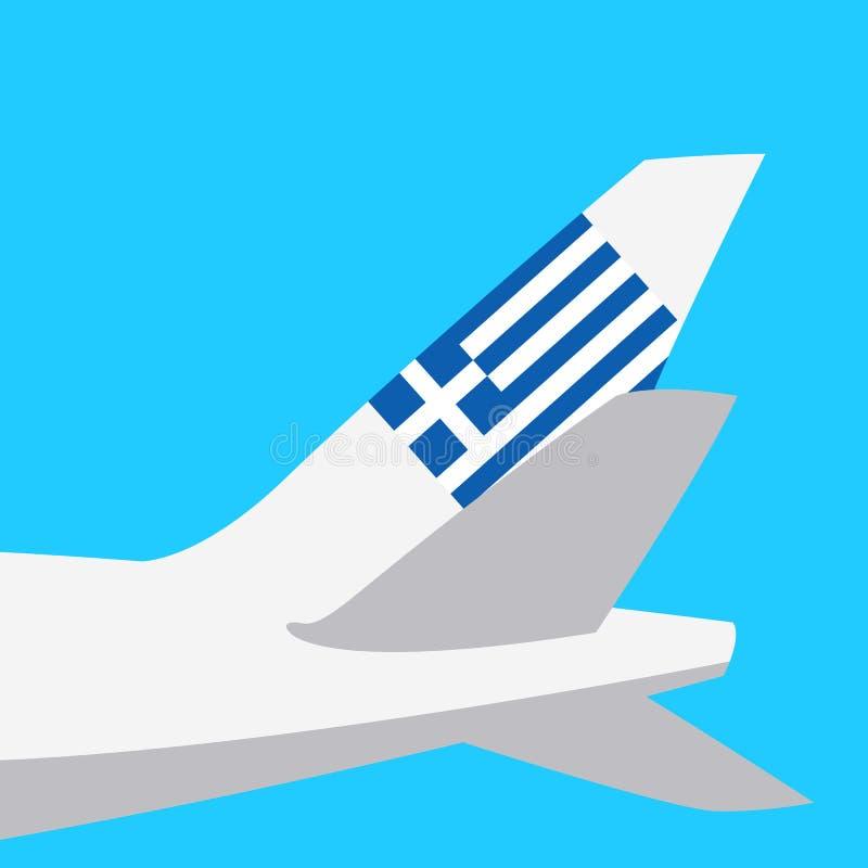 Bandera con la imagen de un estilo plano de la cola del aeroplano stock de ilustración