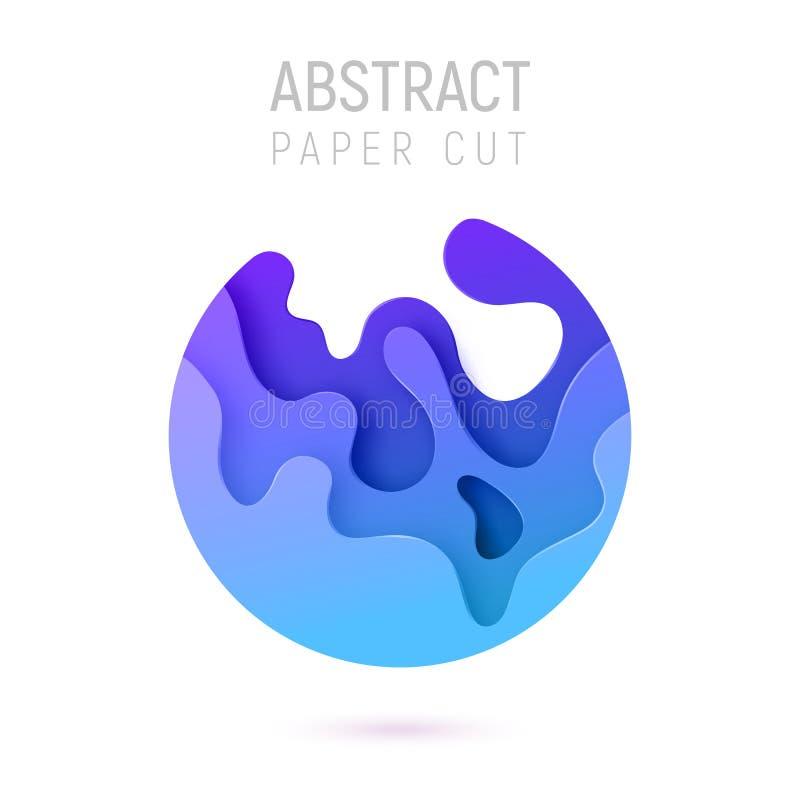 Bandera con las ondas del corte del papel del extracto del círculo 3D y fondo con color azul Disposición de diseño del vector par ilustración del vector