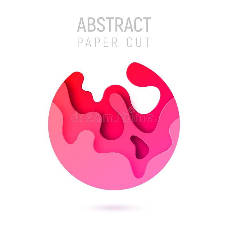 Bandera con las ondas del corte del papel del extracto del círculo 3D y fondo con el rosa plástico del color más popular Diseño d stock de ilustración