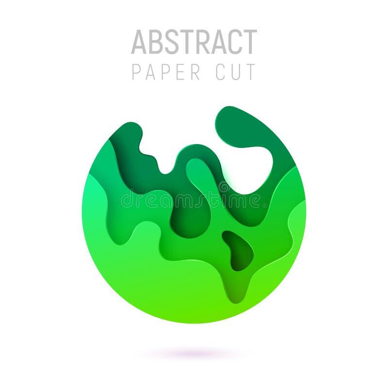 Bandera con las ondas del corte del papel del extracto del círculo 3D y fondo con el verde más popular del UFO del color Diseño d ilustración del vector