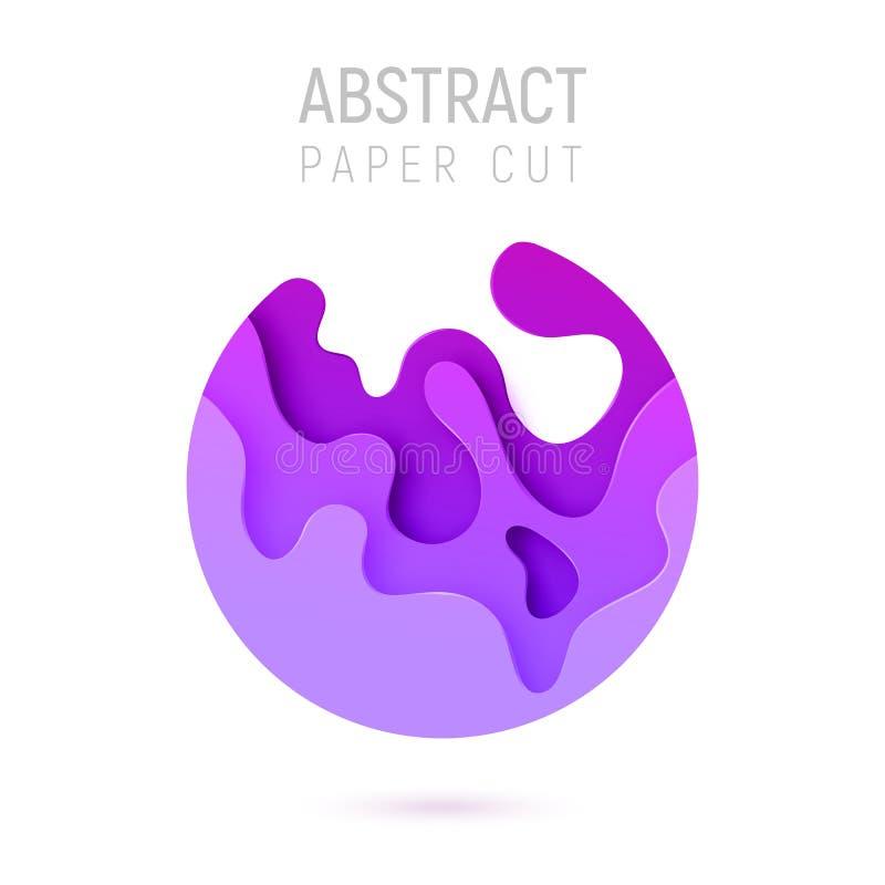 Bandera con las ondas del corte del papel del extracto 3D y fondo con la púrpura más popular del protón del color Disposición de  libre illustration
