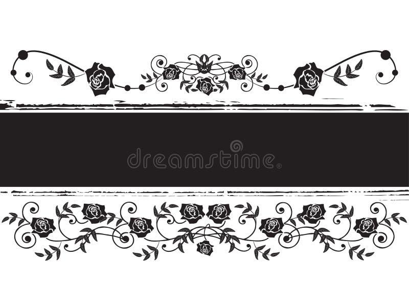 Bandera con las rosas stock de ilustración