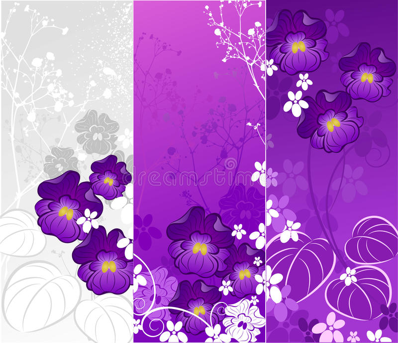 Bandera con las violetas stock de ilustración
