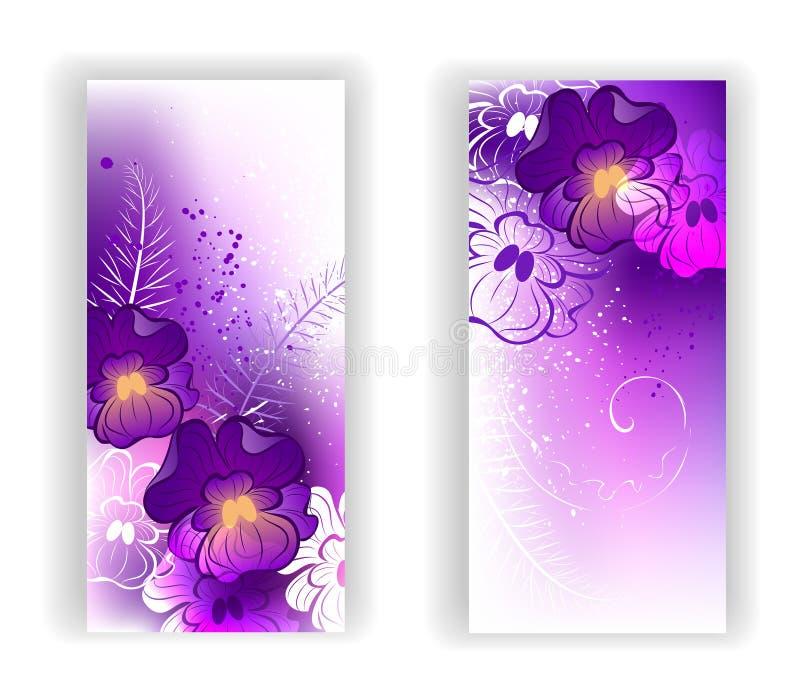 Bandera con las violetas brillantes ilustración del vector