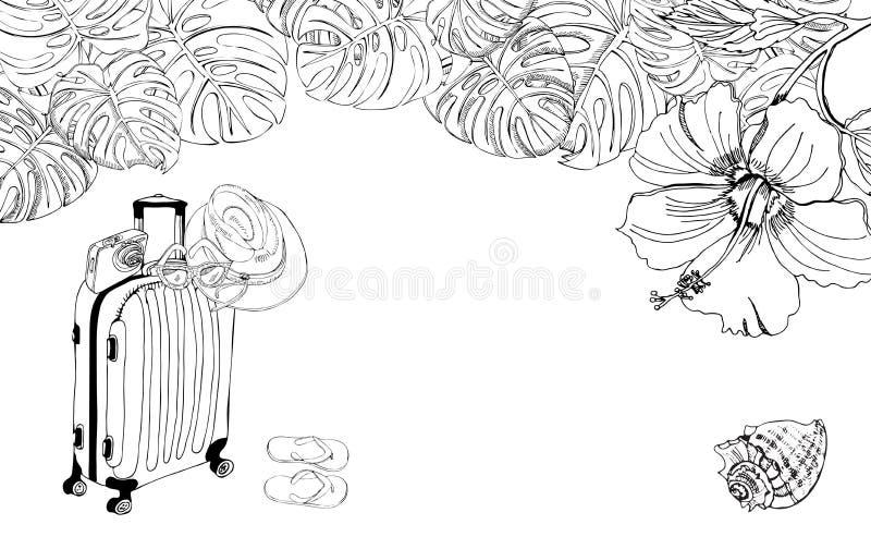 Bandera con los artículos por un día de fiesta de la playa, adornados con las hojas del monstera y el hibisco Bosquejo monocrom?t stock de ilustración