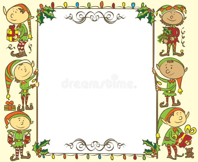 Bandera con los duendes - ejemplo de la Navidad stock de ilustración