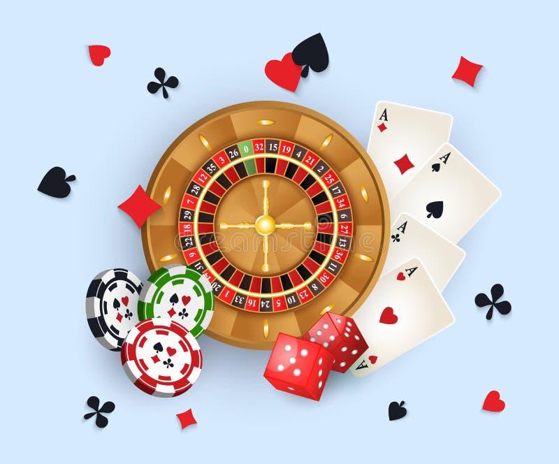 Bandera con los símbolos, rueda de ruleta, tarjetas del casino libre illustration