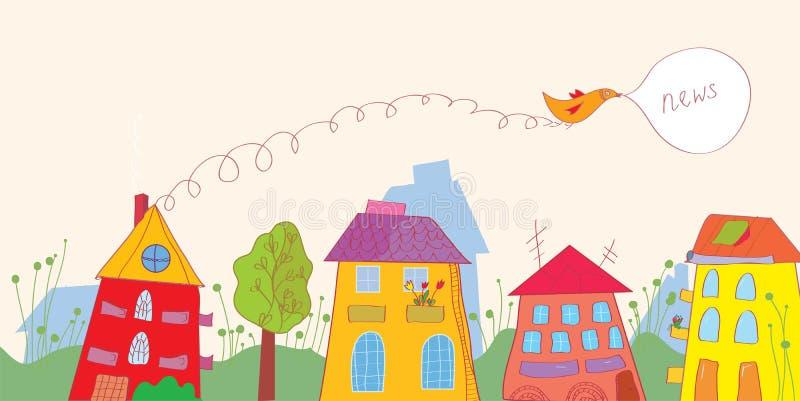 Bandera con noticias - las casas, pájaro, florecen divertido stock de ilustración