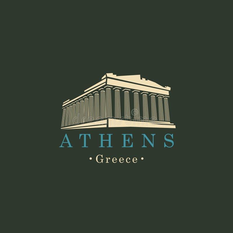 Bandera con Parthenon de Atenas, señal griega ilustración del vector