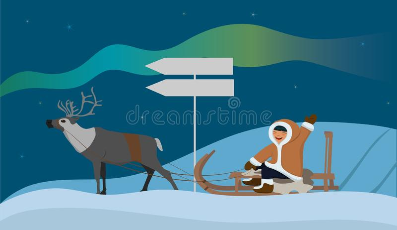 Bandera con un esquimal en un trineo del reno Paisaje con la aurora boreal Ilustraci?n del vector ilustración del vector