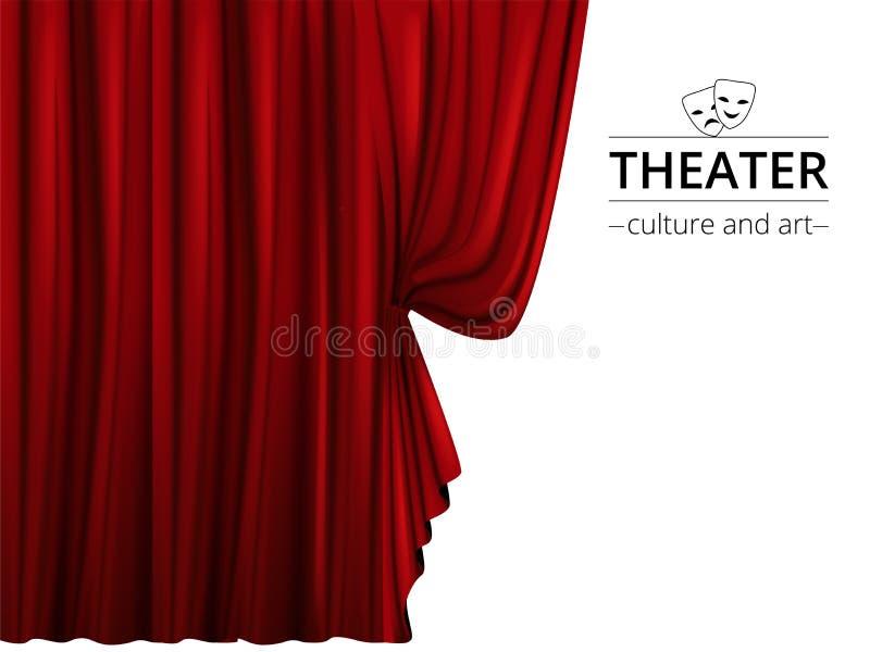 Bandera con una etapa y cortinas rojas de teatro en un fondo blanco ilustración del vector